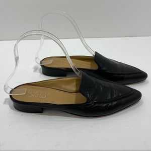 Franco Sarto Black Leather Sela Pointy Mule Flats